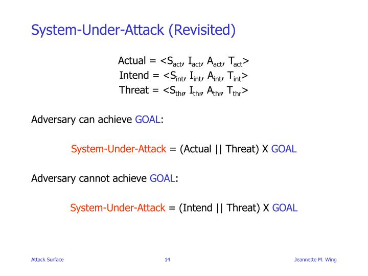 System-Under-Attack (Revisited)