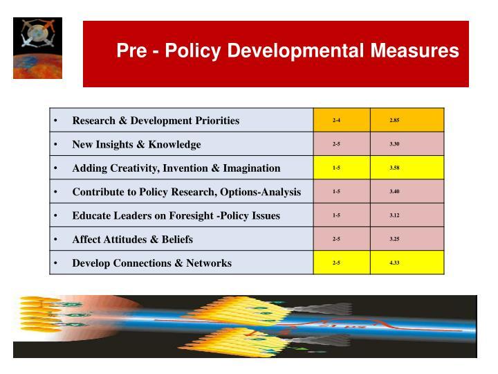 Pre - Policy Developmental Measures