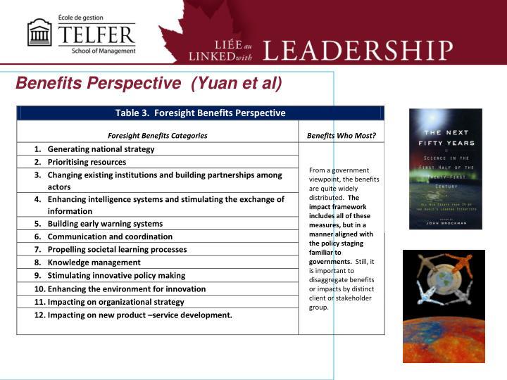 Benefits Perspective  (Yuan et al)