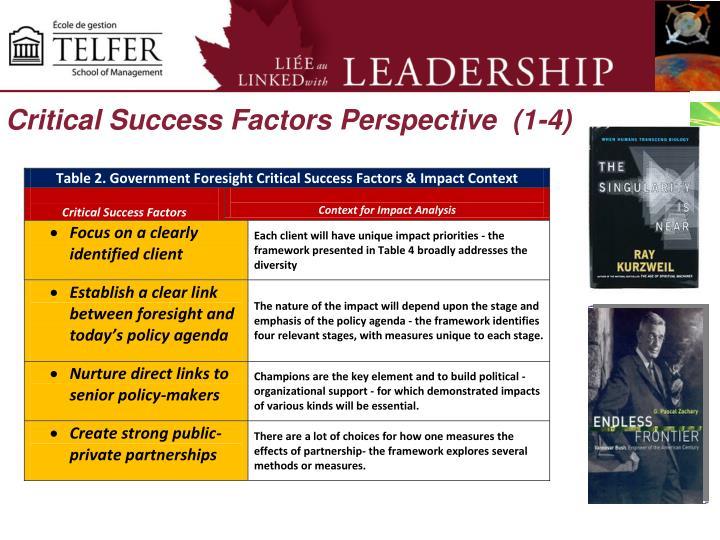 Critical Success Factors Perspective  (1-4)