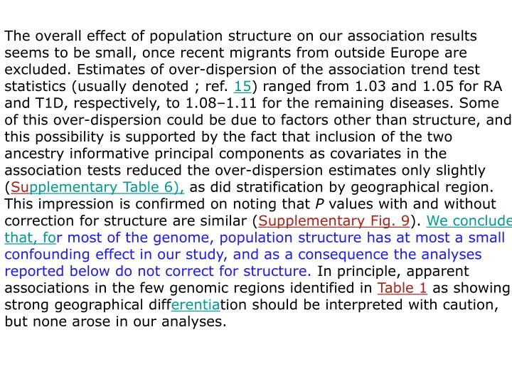 The overall effect of population structure on our association results seems to be small, once recent migrants from outside Europe are excluded. Estimates of over-dispersion of the association trend test statistics (usually denoted ; ref.