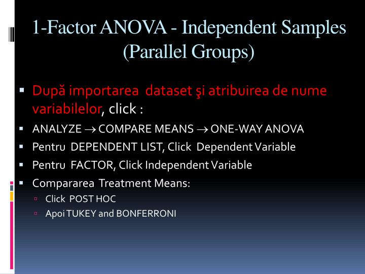 1-Factor ANOVA - Independent Samples (Parallel Groups)