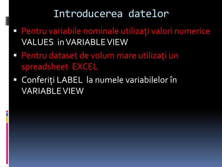 Introducerea datelor