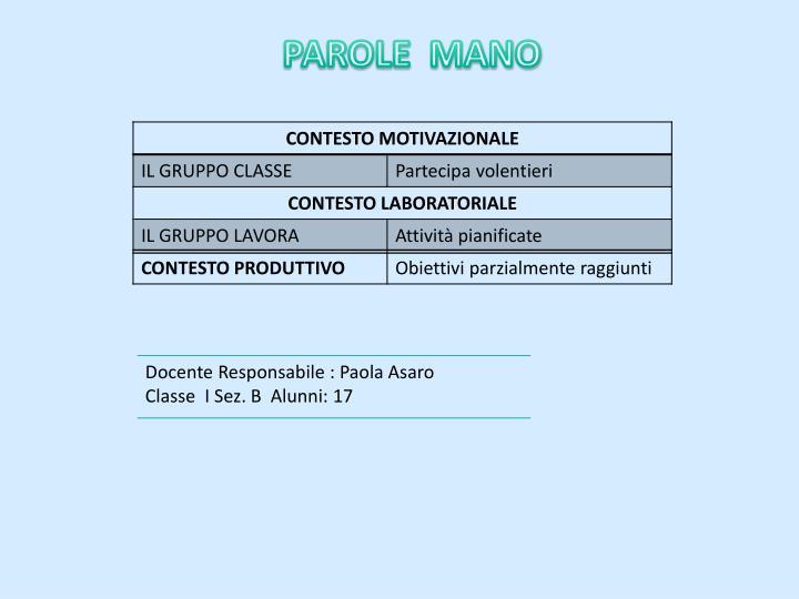 PAROLE  MANO