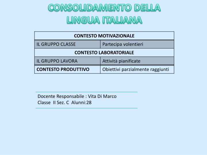 CONSOLIDAMENTO DELLA LINGUA ITALIANA