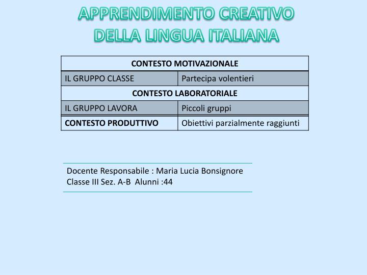 APPRENDIMENTO CREATIVO DELLA LINGUA ITALIANA