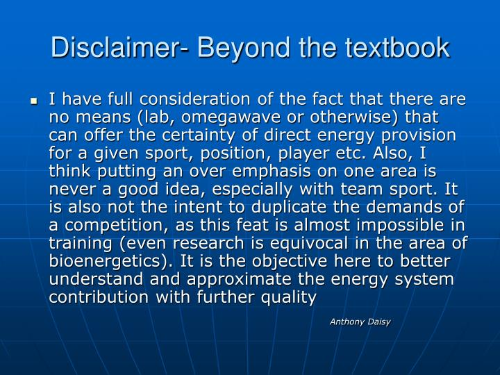 Disclaimer- Beyond the textbook
