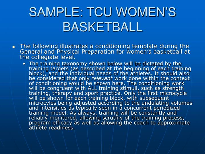 SAMPLE: TCU WOMEN'S BASKETBALL