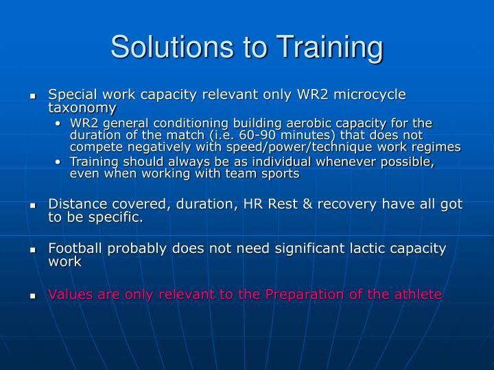 Solutions to Training
