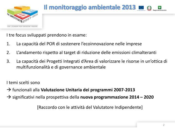 Il monitoraggio ambientale 2013