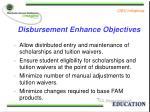 disbursement enhance objectives