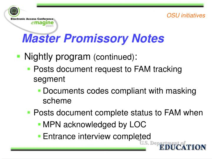 Master Promissory Notes