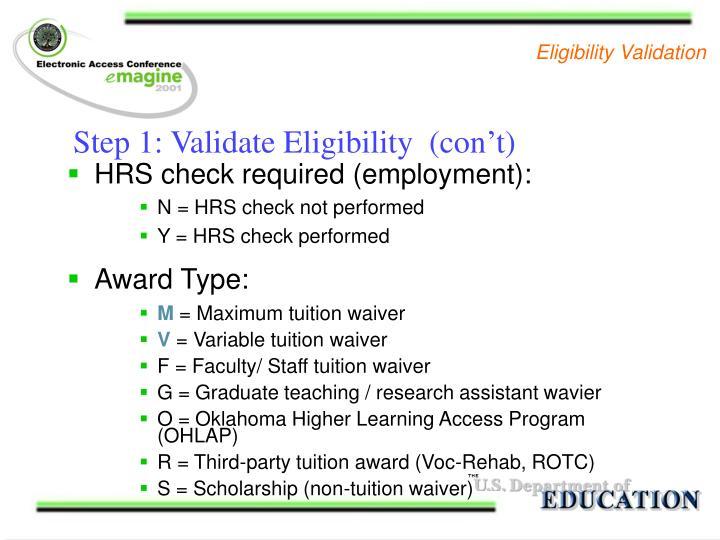 Eligibility Validation