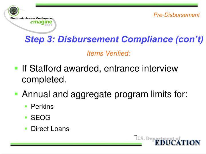 Step 3: Disbursement Compliance (con't)