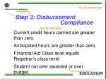 step 3 disbursement compliance
