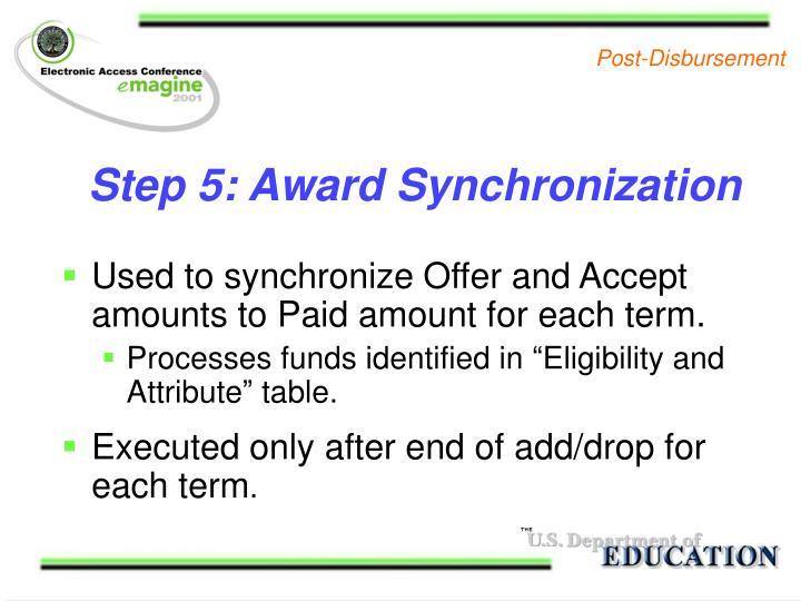 Step 5: Award Synchronization