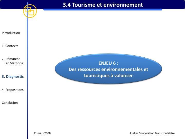 3.4 Tourisme et environnement