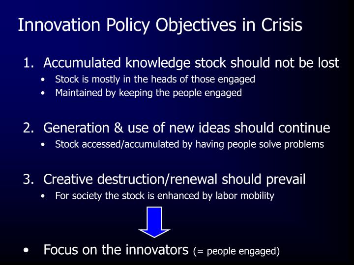 Innovation Policy Objectives in Crisis