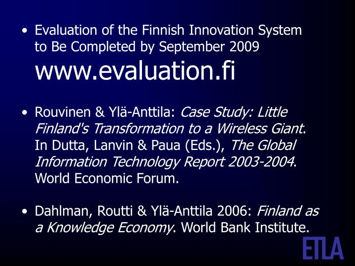 Evaluation of the Finnish Innovation System
