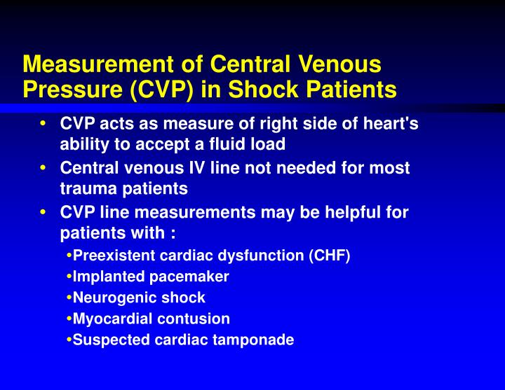 Measurement of Central Venous Pressure (CVP) in Shock Patients
