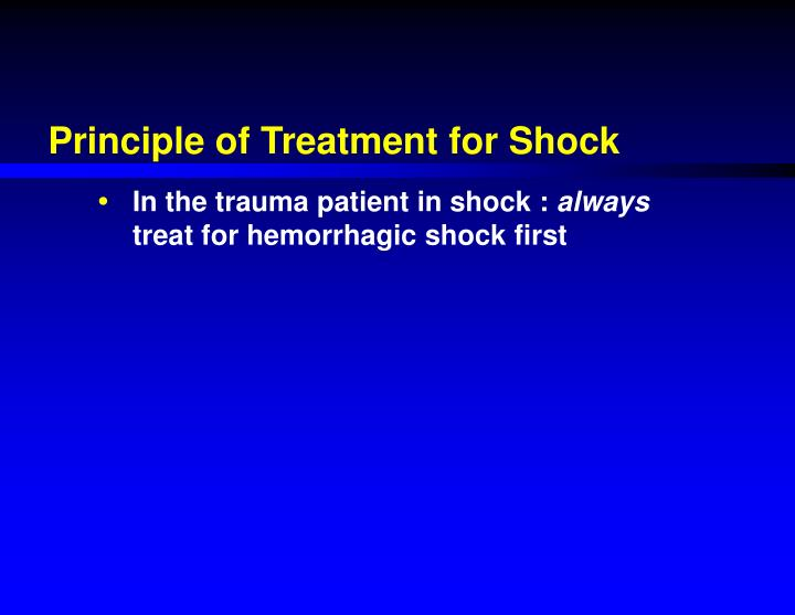 Principle of Treatment for Shock