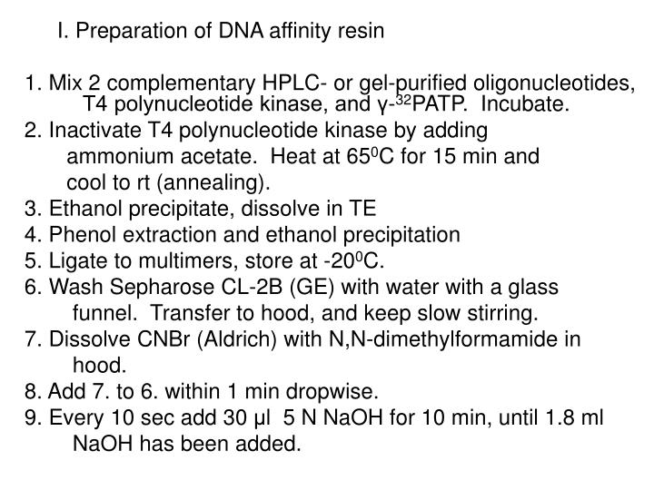 I. Preparation of DNA affinity resin