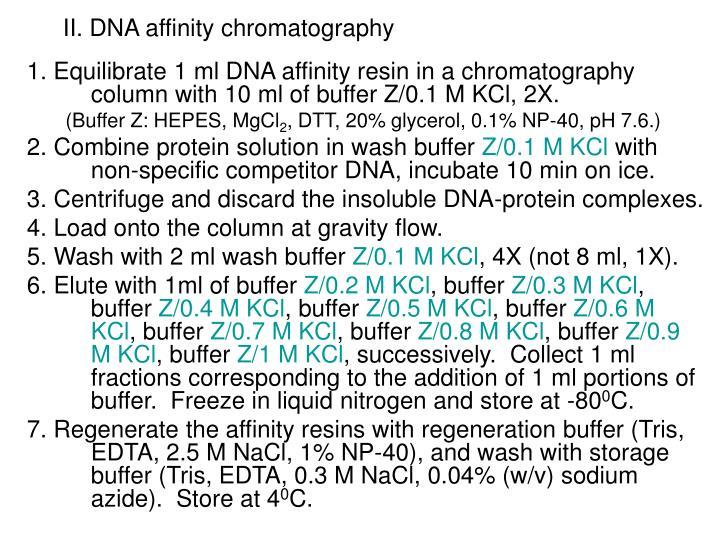 II. DNA affinity chromatography
