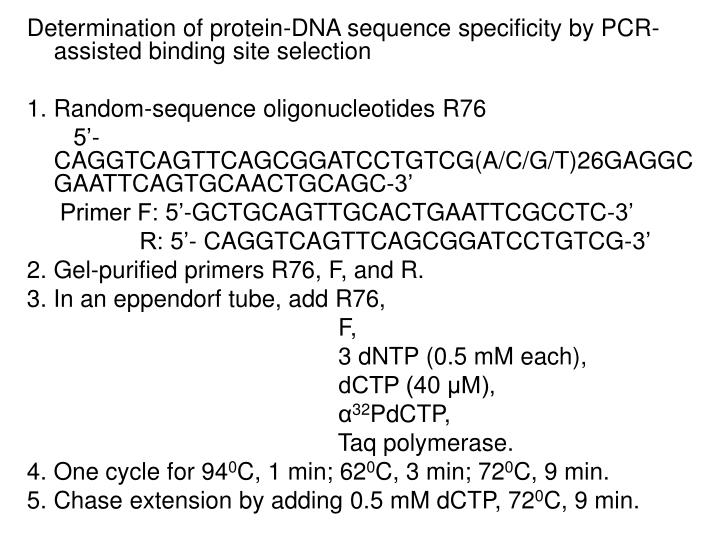Determination of protein-DNA sequence specificity by PCR-assisted binding site selection