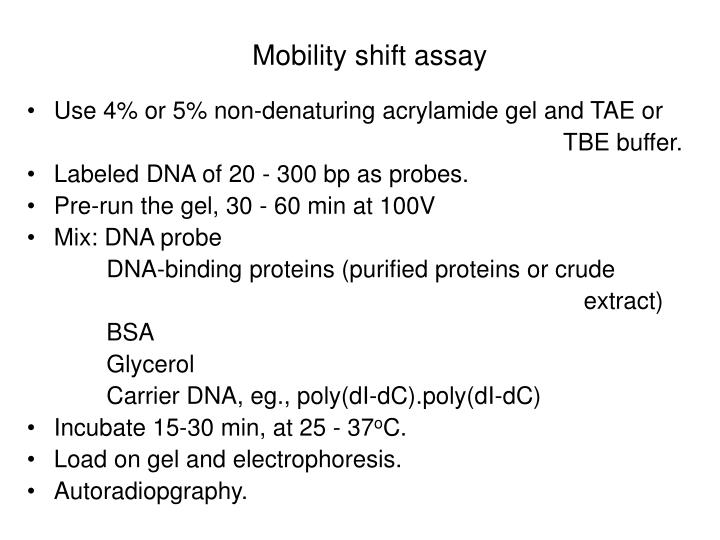 Mobility shift assay