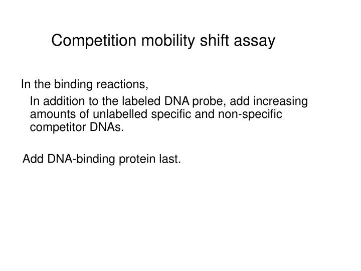 Competition mobility shift assay