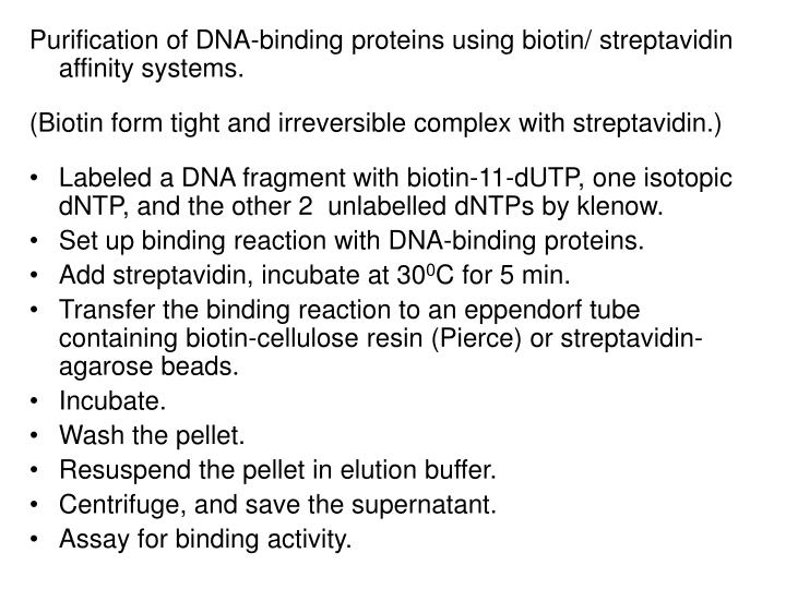 Purification of DNA-binding proteins using biotin/ streptavidin affinity systems.