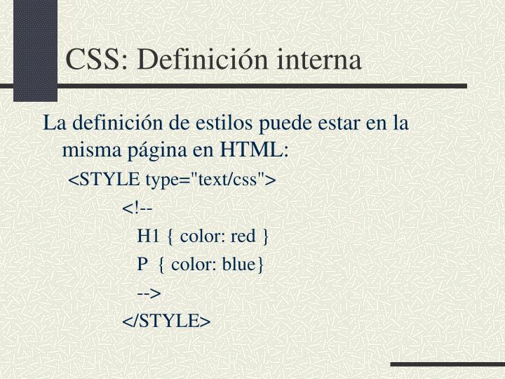 CSS: Definición interna