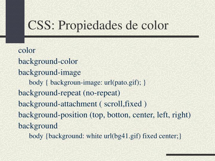 CSS: Propiedades de color