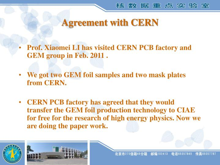Agreement with CERN