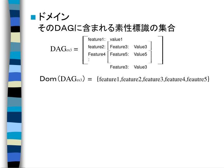 そのDAGに含まれる素性標識の集合