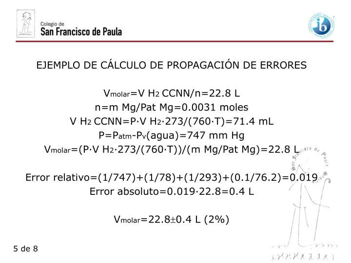 EJEMPLO DE CÁLCULO DE PROPAGACIÓN DE ERRORES