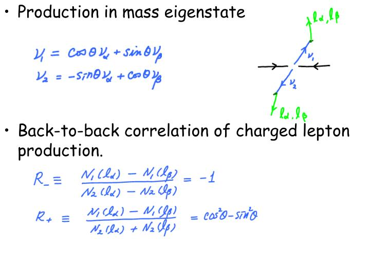 Production in mass eigenstate