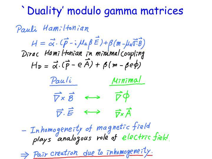 `Duality' modulo gamma matrices