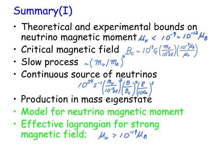 Summary(I)