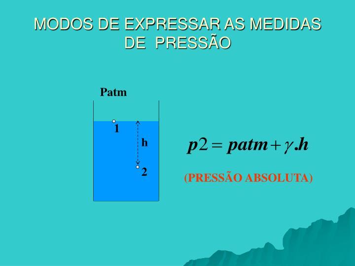 MODOS DE EXPRESSAR AS MEDIDAS DE  PRESSÃO
