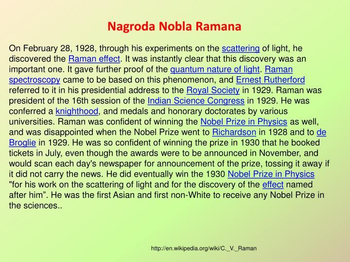 Nagroda Nobla Ramana