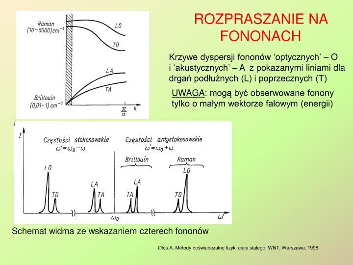 Krzywe dyspersji fononów 'optycznych' – O              i 'akustycznych' – A  z pokazanymi liniami dla drgań podłużnych (L) i poprzecznych (T)