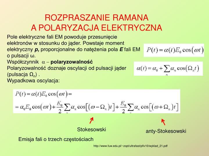 Pole elektryczne fali EM powoduje przesunięcie elektronów w stosunku do jąder. Powstaje moment elektryczny
