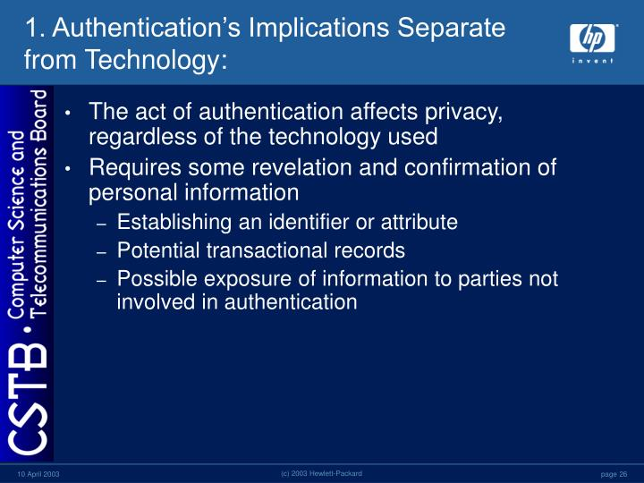 1. Authentication's Implications Separate from Technology:
