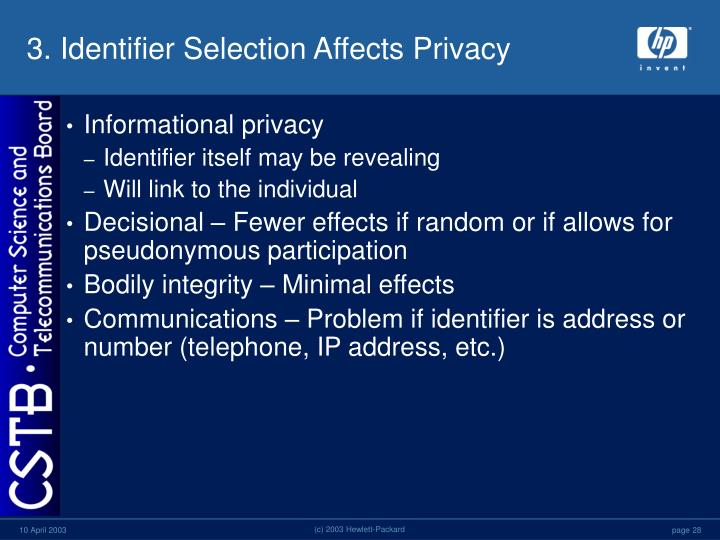 3. Identifier Selection Affects Privacy