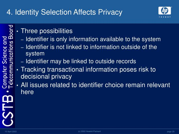 4. Identity Selection Affects Privacy