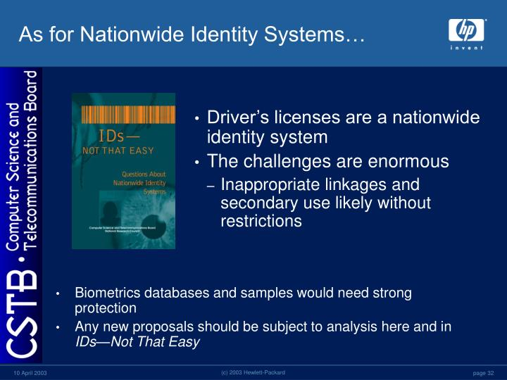 As for Nationwide Identity Systems…