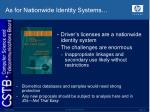 as for nationwide identity systems