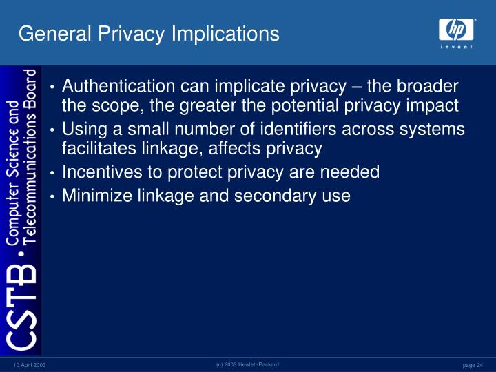 General Privacy Implications