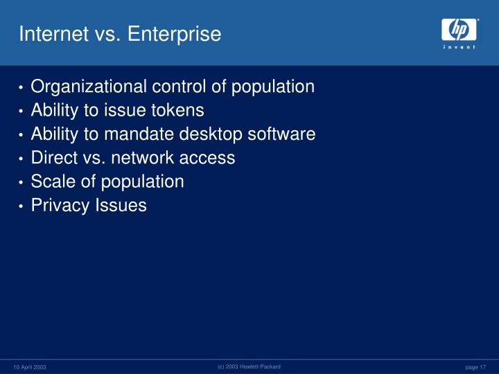 Internet vs. Enterprise